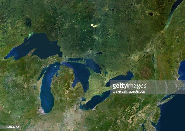 Satellite image of the American Great Lakes lake Superior Michigan Huron Erie and Ontario This image was compiled from data acquired by LANDSAT 5 7...