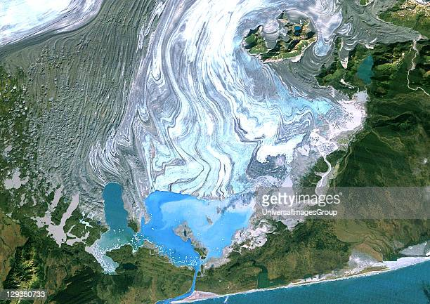 Satellite image of the Bering Glacier the largest glacier in North America It currently terminates in Vitus Lake about 10km from the Gulf of Alaska...
