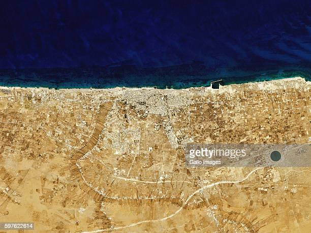 Satellite image of the city and port Sirte, Libya, North Africa on August 01, 2016.