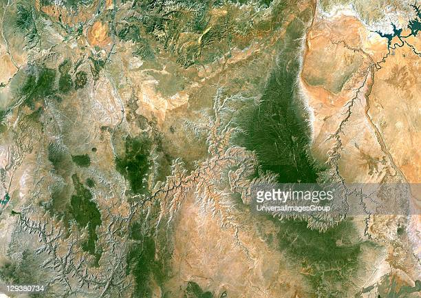 Satellite image of the Glen Canyon carved by the Colorado river and the Lake Powell the second largest manmade reservoir in the USA Image taken on 22...