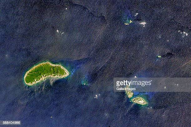 A satellite image of the Senkaku Islands located in the East of China on April 01 2016 in Japan The area is controlled by Japan but currently...