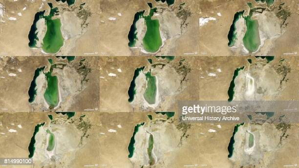Satellite image of the shrinking of the Aral Sea from 2000 to 2013 The Aral Sea is a lake lying between Kazakhstan in the north and Uzbekistan in the...
