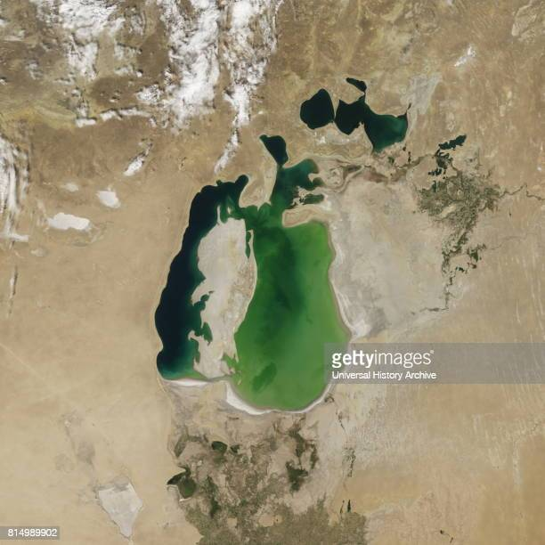 Satellite image of the shrinking of the Aral Sea taken in 2000 The Aral Sea is a lake lying between Kazakhstan in the north and Uzbekistan in the...
