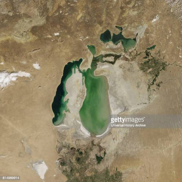 Satellite image of the shrinking of the Aral Sea taken in 2002 The Aral Sea is a lake lying between Kazakhstan in the north and Uzbekistan in the...