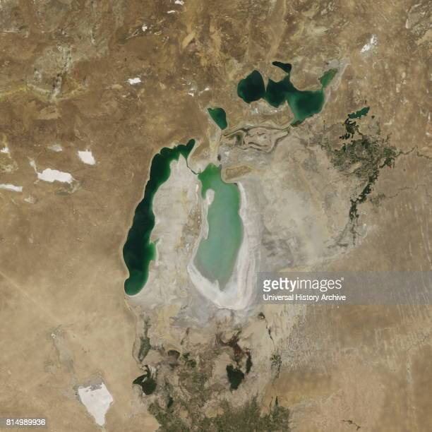 Satellite image of the shrinking of the Aral Sea taken in 2007 The Aral Sea is a lake lying between Kazakhstan in the north and Uzbekistan in the...