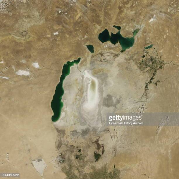 Satellite image of the shrinking of the Aral Sea taken in 2009 The Aral Sea is a lake lying between Kazakhstan in the north and Uzbekistan in the...