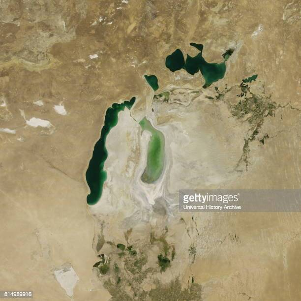 Satellite image of the shrinking of the Aral Sea taken in 2011 The Aral Sea is a lake lying between Kazakhstan in the north and Uzbekistan in the...