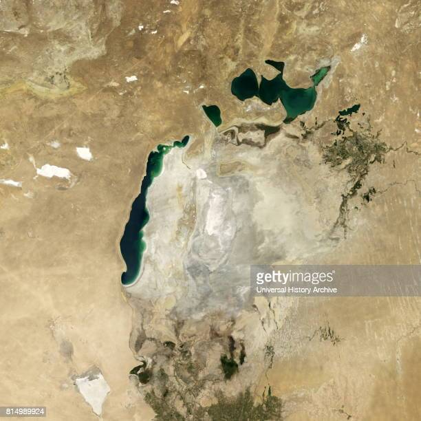 Satellite image of the shrinking of the Aral Sea taken in 2014 The Aral Sea is a lake lying between Kazakhstan in the north and Uzbekistan in the...