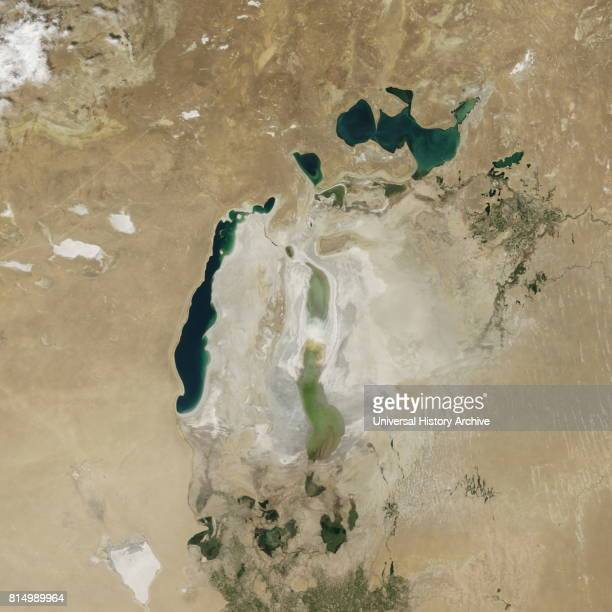 Satellite image of the shrinking of the Aral Sea taken in 2015 The Aral Sea is a lake lying between Kazakhstan in the north and Uzbekistan in the...