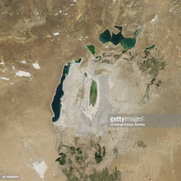 Satellite image of the shrinking of the Aral Sea taken in 2016 The Aral Sea is a lake lying between Kazakhstan in the north and Uzbekistan in the...