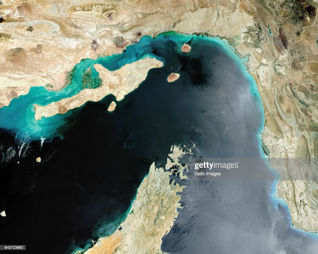 Satellite view of Strait of Hormuz : News Photo