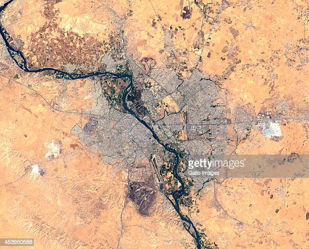 A satellite image provided by the USGS showing Mosul City on August 12 2014 in Mosul Iraq The Kurdish and Iraqi forces have retaken parts of the...