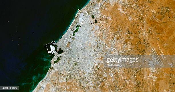 A satellite image provided by the USGS showing the city of Benghazi which has been taken over by Islamist insurgents and rebel militias on July 31...