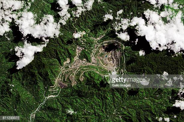 Satellite imagery of the Panguna Mine located in the autonomous region of Bougainville on July 20 2015 in Papua New Guinea The Panguna mine has one...