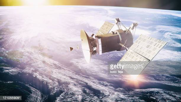 satellite on planet background - receiver stock pictures, royalty-free photos & images