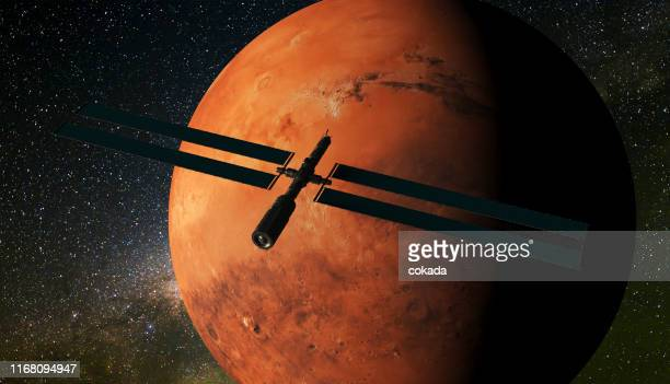 satellite orbiting mars - receiver stock pictures, royalty-free photos & images