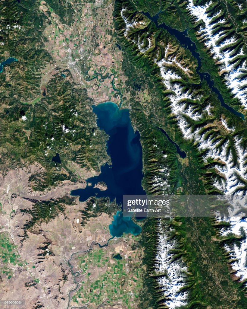 Satellite photo of Flathead Lake, Montana, USA : Stock Photo