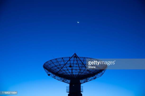 satellite receiver  in the moonlight - receiver stock pictures, royalty-free photos & images