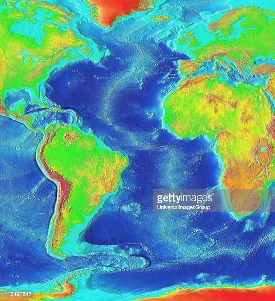 Satellite thermographic image of the Atlantic Ocean showing coldest areas in Arctic Antarctic and high Andes as bright orange National Oceanic and...