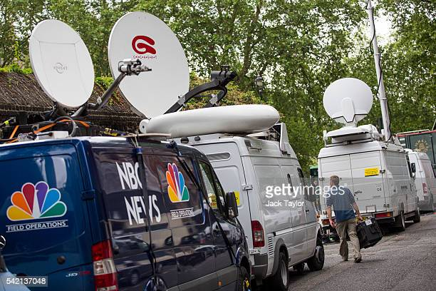 Satellite trucks from various international media organisations are parked by Abingdon Green outside the Houses of Parliament ahead of tomorrow's...