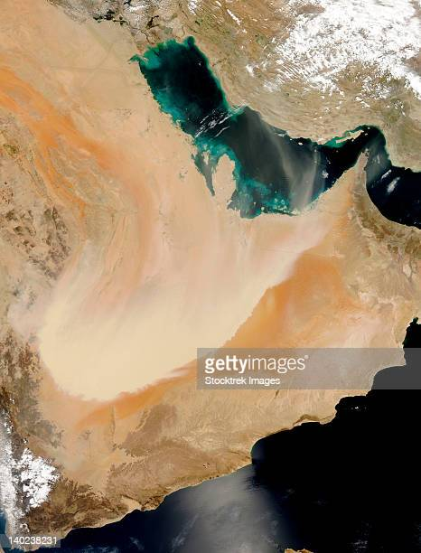 Satellite view of a dust storm in Saudi Arabia.