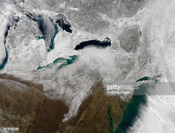 Satellite view of a large Nor'easter snow storm over United States.