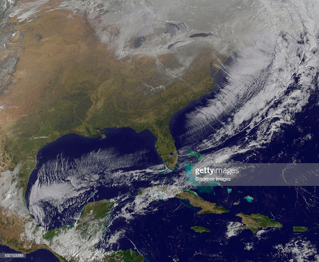 Satellite View Of A Powerful Weather System In The United ...