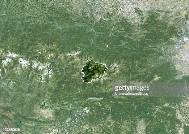 Satellite view of Andorra This image was compiled from data acquired by LANDSAT 5 7 satellites Andorra Europe True Colour Satellite Image With Border...