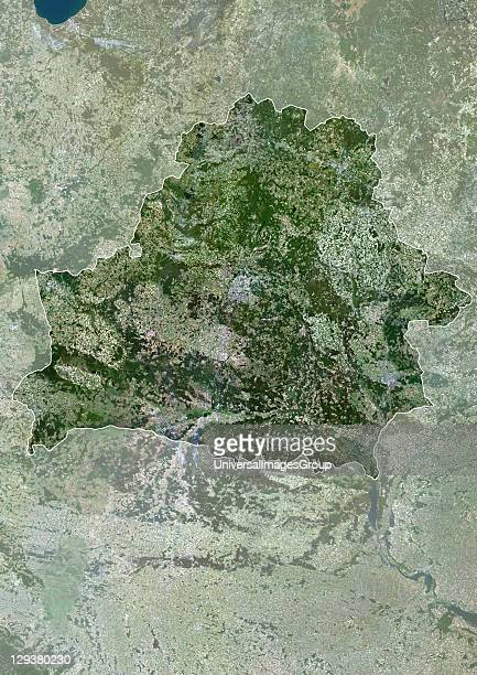 Satellite view of Belarus This image was compiled from data acquired by LANDSAT 5 7 satellites Belarus Europe True Colour Satellite Image With Border...