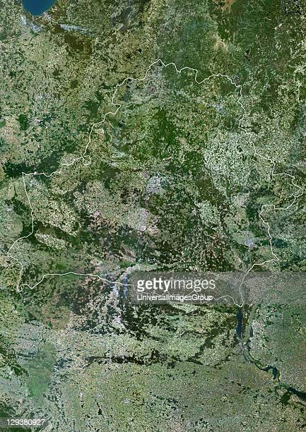 Satellite view of Belarus This image was compiled from data acquired by LANDSAT 5 7 satellites Belarus Europe True Colour Satellite Image With Border