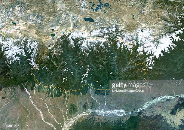 Satellite view of Bhutan This image was compiled from data acquired by LANDSAT 5 7 satellites Bhutan Asia True Colour Satellite Image With Border