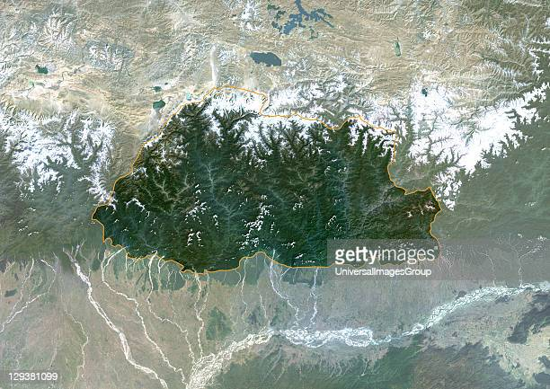 Satellite view of Bhutan This image was compiled from data acquired by LANDSAT 5 7 satellites Bhutan Asia True Colour Satellite Image With Border And...