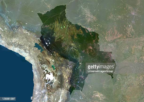 Satellite view of Bolivia This image was compiled from data acquired by LANDSAT 5 7 satellites Bolivia South America True Colour Satellite Image With...