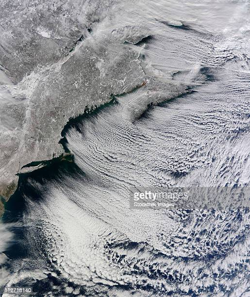 Satellite view of clouds across the skies of the North Atlantic.