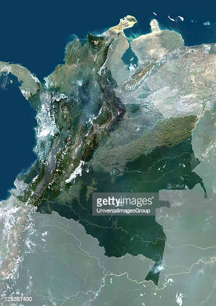 Satellite view of Colombia This image was compiled from data acquired by LANDSAT 5 7 satellites Colombia South America True Colour Satellite Image...