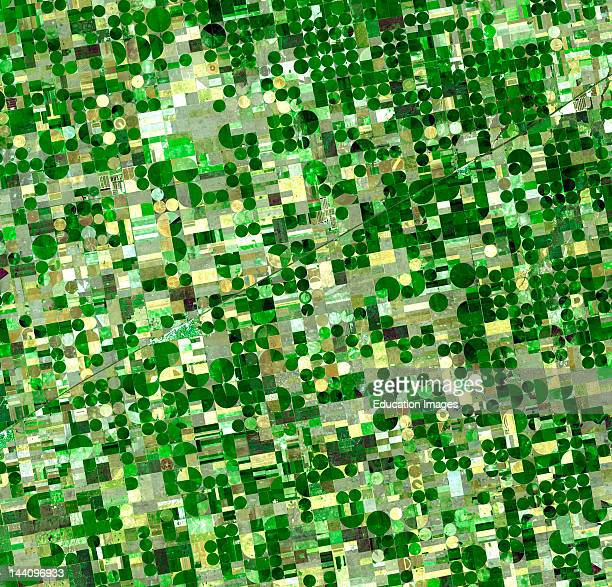 Satellite View Of Crop Circles In Kansas