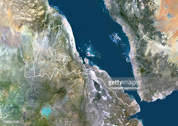Satellite view of Eritrea This image was compiled from data acquired by LANDSAT 5 7 satellites Eritrea Africa True Colour Satellite Image With Border
