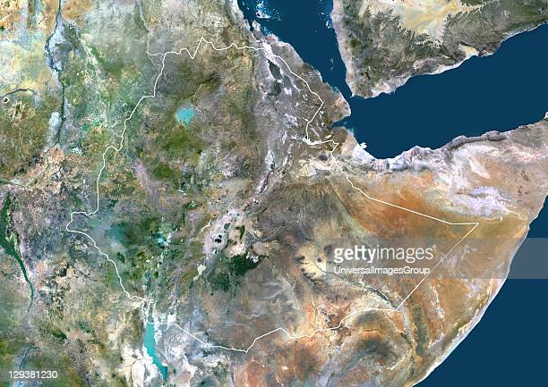 Satellite view of Ethiopia This image was compiled from data acquired by LANDSAT 5 7 satellites Ethiopia Africa True Colour Satellite Image With...