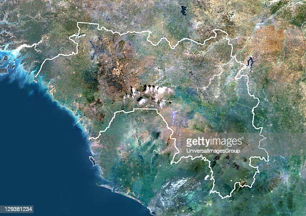 Satellite view of Guinea This image was compiled from data acquired by LANDSAT 5 7 satellites Guinea Africa True Colour Satellite Image With Border