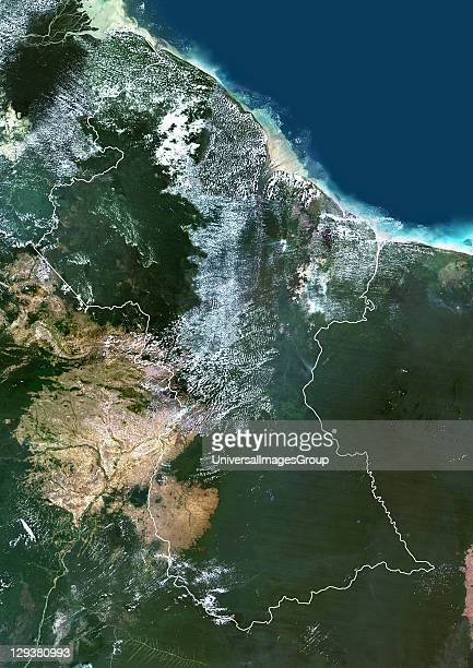 Satellite view of Guyana This image was compiled from data acquired by LANDSAT 5 7 satellites Guyana South America True Colour Satellite Image With...