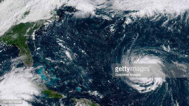 satellite view of hurricane florence in the western atlantic  ocean. - 2018年ハリケーン・フローレンス ストックフォトと画像