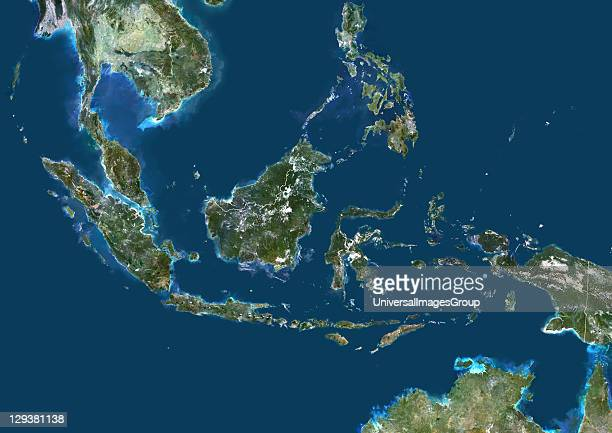 Satellite view of Indonesia This image was compiled from data acquired by LANDSAT 5 7 satellites Indonesia Asia True Colour Satellite Image With...
