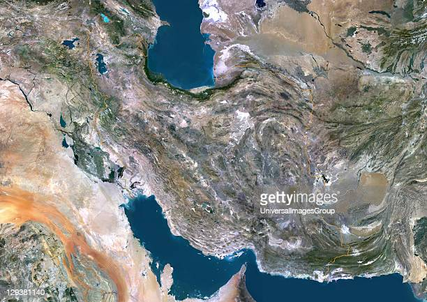 Satellite view of Iran This image was compiled from data acquired by LANDSAT 5 7 satellites Iran Middle East Asia True Colour Satellite Image With...