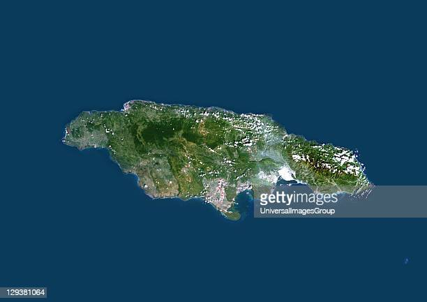 Satellite view of Jamaica Caribbean This image was compiled from data acquired by LANDSAT 5 7 satellites Jamaica Caribbean True Colour Satellite Image