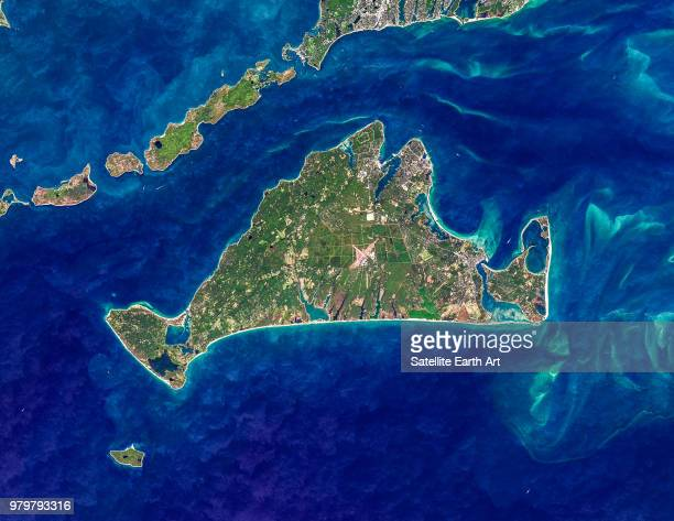satellite view of marthas vineyard island, massachusetts, usa - martha's_vineyard stock pictures, royalty-free photos & images