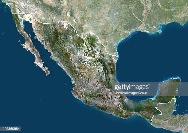 Satellite view of Mexico This image was compiled from data acquired by LANDSAT 5 7 satellites Mexico North America True Colour Satellite Image With...