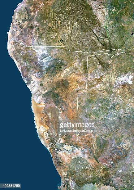 Satellite view of Namibia This image was compiled from data acquired by LANDSAT 5 7 satellites Namibia Africa True Colour Satellite Image With Border