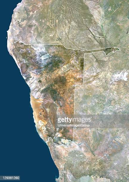 Satellite view of Namibia This image was compiled from data acquired by LANDSAT 5 7 satellites Namibia Africa True Colour Satellite Image With Border...