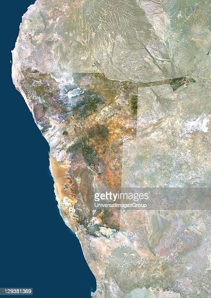 Satellite view of Namibia This image was compiled from data acquired by LANDSAT 5 7 satellites Namibia Africa True Colour Satellite Image With Mask