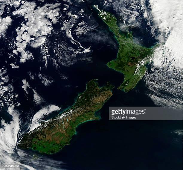 Satellite view of New Zealand